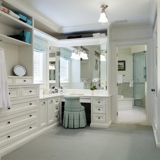 Dressing room - traditional dressing room idea in Newark with white cabinets