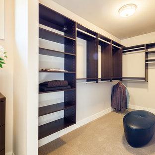Immagine di una cabina armadio unisex moderna di medie dimensioni con nessun'anta, ante in legno bruno e moquette