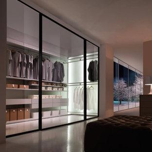 Immagine di una cabina armadio unisex minimalista di medie dimensioni con ante lisce, ante grigie e pavimento in linoleum