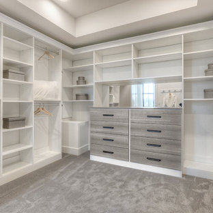 This is an example of a transitional walk-in wardrobe in Seattle with flat-panel cabinets, white cabinets and carpet.
