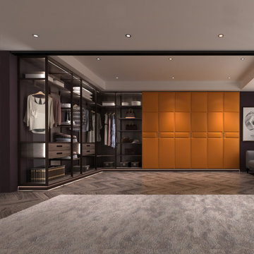L Shaped Closet With Orange Leather Surface Hinged Door