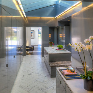 Photo of a large contemporary gender neutral walk-in wardrobe in Los Angeles with flat-panel cabinets, grey cabinets and marble flooring.