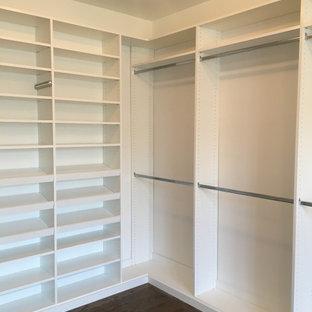 Modelo de armario y vestidor minimalista, grande, con puertas de armario blancas y suelo de madera oscura