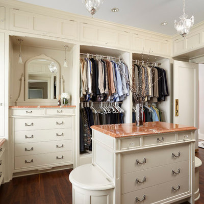 Inspiration for a timeless women's dressing room remodel in Minneapolis with open cabinets and beige cabinets