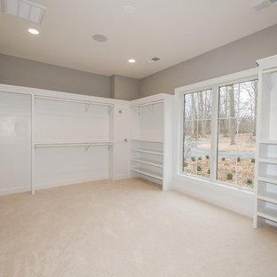 Imagen de armario vestidor unisex, bohemio, grande, con moqueta y puertas de armario blancas