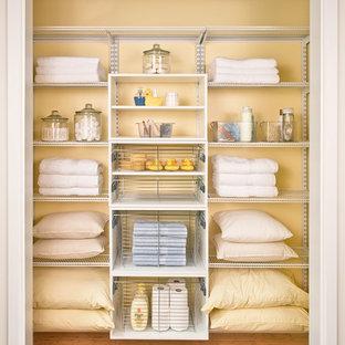 Diseño de armario tradicional renovado, de tamaño medio, con armarios abiertos, puertas de armario blancas, suelo de madera clara y suelo marrón