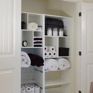 トロントの小さいコンテンポラリースタイルのおしゃれな壁面クローゼット (オープンシェルフ、白いキャビネット、カーペット敷き、ベージュの床) の写真