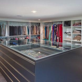 Ispirazione per un'ampia cabina armadio per donna moderna con nessun'anta, ante bianche, moquette e pavimento grigio