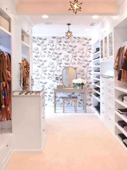 Example Of A Transitional Carpeted Walk In Closet Design In Los Angeles  With White Cabinets