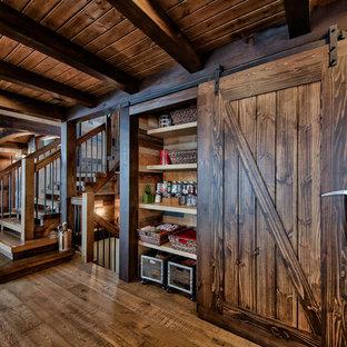 Reach In Closet Mid Sized Rustic Light Wood Floor