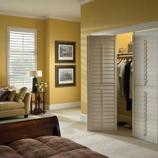 Idee per un armadio o armadio a muro unisex tradizionale di medie dimensioni con ante a persiana e moquette