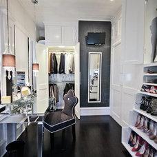 Transitional Closet by Liz Light Interiors