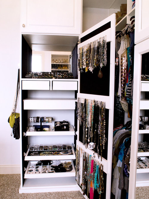 Traditional Carpeted Walk In Closet Idea In Indianapolis