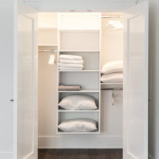 Ejemplo de armario unisex, clásico renovado, de tamaño medio, con suelo de madera oscura