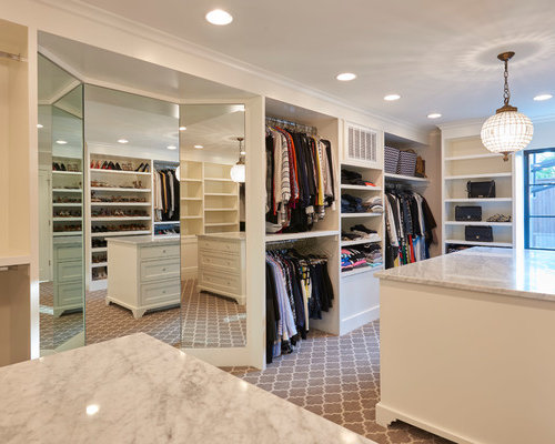 Example Of A Mid Sized Transitional Gender Neutral Carpeted Dressing Room  Design In Other