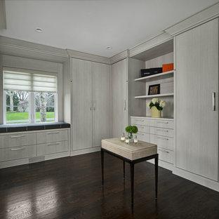 Ejemplo de armario vestidor retro, grande, con armarios con paneles lisos, puertas de armario grises, suelo de madera oscura y suelo marrón