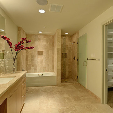 Master Bathroom with a view into the overly organized Master Closet!