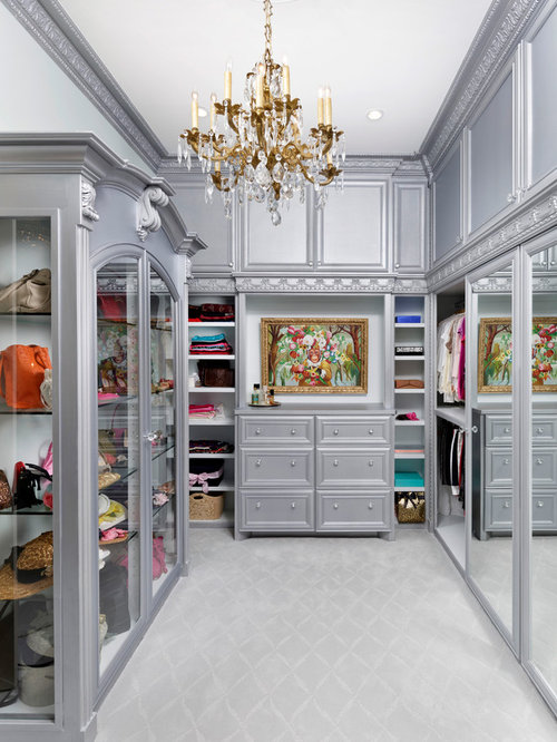 Inspiration For A Huge Victorian Womenu0027s Carpeted Walk In Closet Remodel In  Houston With Recessed