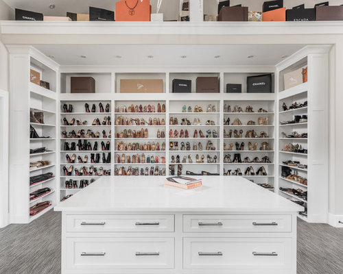 Inspiration For A Transitional Womenu0027s Walk In Closet Remodel In  Indianapolis With Shaker Cabinets,