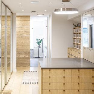 Modelo de armario vestidor unisex, minimalista, grande, con armarios con paneles lisos, puertas de armario de madera clara y suelo de madera clara