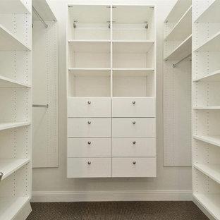 Modelo de armario vestidor unisex, costero, grande, con armarios con paneles lisos, puertas de armario blancas y moqueta