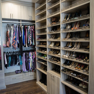 Superieur Example Of A Large Trendy Womenu0027s Dark Wood Floor And Brown Floor Walk In  Closet