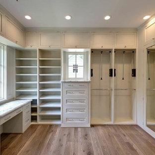 Ejemplo de armario vestidor de mujer, tradicional, grande, con puertas de armario grises y suelo de madera en tonos medios