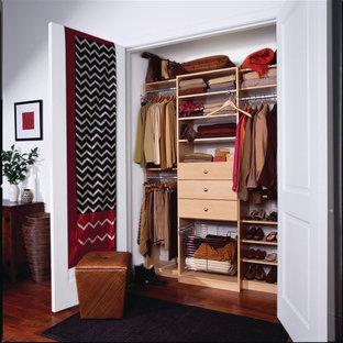 Diseño de armario unisex, clásico, de tamaño medio, con suelo de madera oscura, puertas de armario de madera clara y armarios con paneles lisos