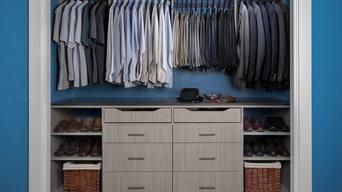 Men's Reach In Closet Organizer in a Concrete Finish with Flat Panels
