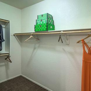 Foto di una cabina armadio unisex stile americano di medie dimensioni con moquette