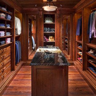 Elegant Medium Tone Wood Floor Walk In Closet Photo In Denver