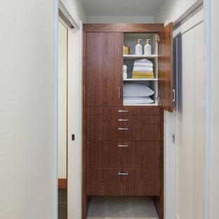 Modelo de vestidor unisex, vintage, pequeño, con armarios con paneles lisos, puertas de armario de madera oscura, moqueta y suelo beige