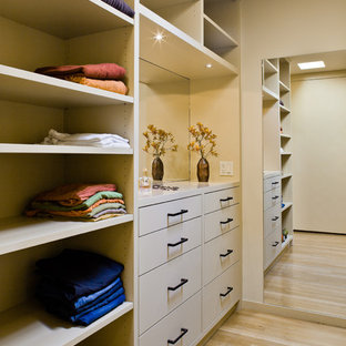 Example of a large minimalist light wood floor walk-in closet design in San Francisco with flat-panel cabinets and beige cabinets