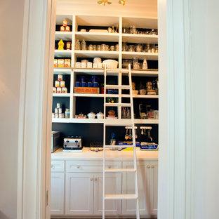 Modelo de armario vestidor unisex, vintage, grande, con armarios con paneles empotrados, puertas de armario blancas y suelo de madera clara