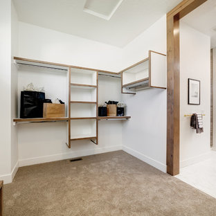 Photo of a large country gender-neutral dressing room in Boise with open cabinets, white cabinets, carpet and beige floor.
