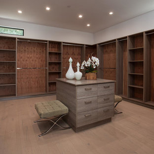 Inspiration for a large modern gender-neutral light wood floor walk-in closet remodel in Los Angeles with flat-panel cabinets and medium tone wood cabinets