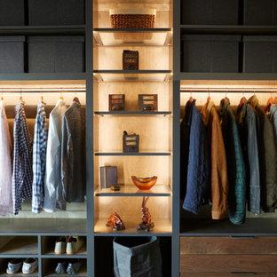 Modelo de armario y vestidor de hombre, actual, con armarios abiertos y puertas de armario grises