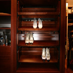 NYC Brownstone, StorageMotion, Inc. ShoeSelectTM - StorageMotion, Inc. ShoeSelectTM Side by Side Shoe Carousel with heel rail and cherry finish