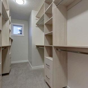 Foto di una cabina armadio unisex minimal di medie dimensioni con ante lisce, ante in legno scuro e moquette