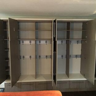 Foto de armario unisex, clásico renovado, de tamaño medio, con armarios con paneles lisos y puertas de armario grises