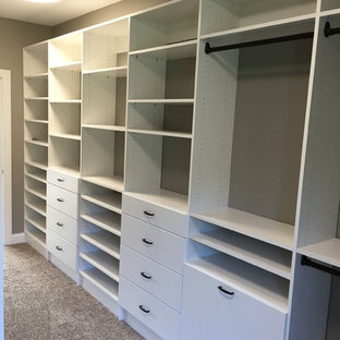 Inspiration for a small contemporary walk-in closet remodel in Other with flat-panel cabinets and white cabinets