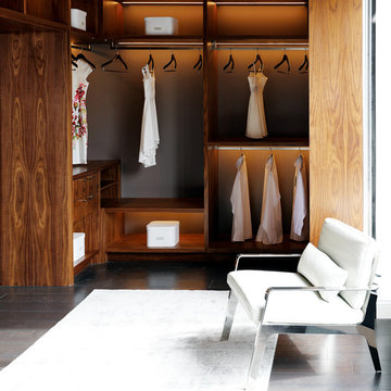 Natural Walnut Walk-in Closet and Bath Suite