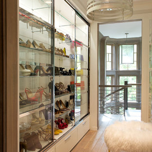 Inspiration For A Mid Sized Transitional Women S Light Wood Floor Walk In Closet Remodel