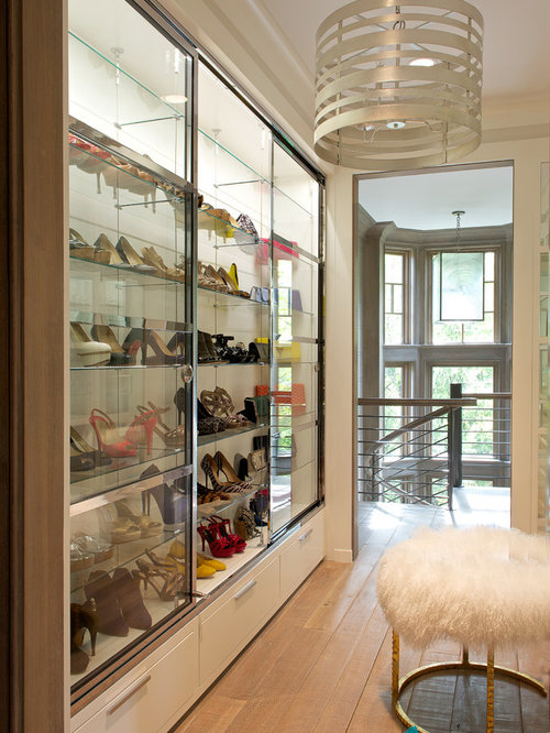 Inspiration For A Mid Sized Transitional Womens Light Wood Floor Walk In Closet Remodel
