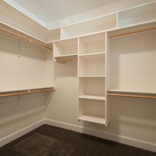 Inspiration för ett mellanstort amerikanskt walk-in-closet för könsneutrala, med öppna hyllor, beige skåp och heltäckningsmatta