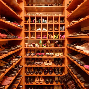 Walk-in closet - small traditional women's medium tone wood floor and brown floor walk-in closet idea in New York with open cabinets and medium tone wood cabinets