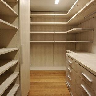 Idéer för ett stort modernt walk-in-closet för könsneutrala, med släta luckor, skåp i ljust trä och mellanmörkt trägolv