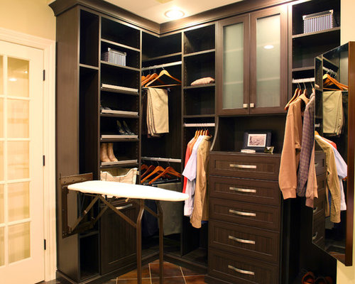 Contemporary walk-in closet with recessed-panel cabinets ide.