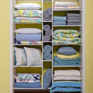 Diseño de armario unisex, clásico renovado, pequeño, con puertas de armario blancas, armarios abiertos y suelo de madera en tonos medios