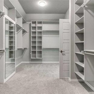 Ispirazione per una grande cabina armadio unisex classica con nessun'anta, ante grigie, moquette e pavimento grigio